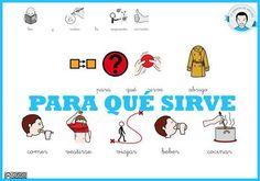 Para qué sirve (II) Spanish Class, App, Teaching, Comics, Deco, Speech Pathology, Vocabulary, Communication Boards, Autism