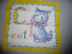 c is for Cat vintage handkerchief