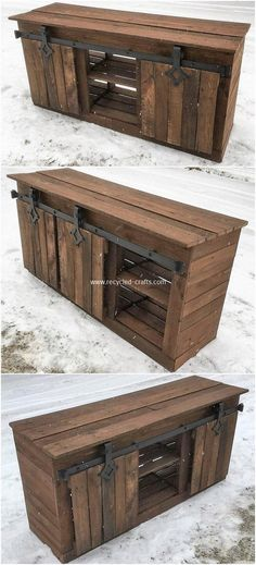 Use Pallet Wood Projects to Create Unique Home Decor Items – Hobby Is My Life Diy Pallet Sofa, Diy Pallet Projects, Pallet Furniture, Furniture Projects, Furniture Plans, Rustic Furniture, Furniture Design, Kitchen Furniture, Furniture Storage