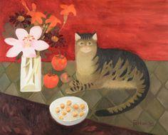 Tabby in Orange, Mary Fedden Art Grants, Naive Art, Dog Art, Beautiful Artwork, Pet Portraits, Illustration Art, Paintings, Orange, Pet Cats