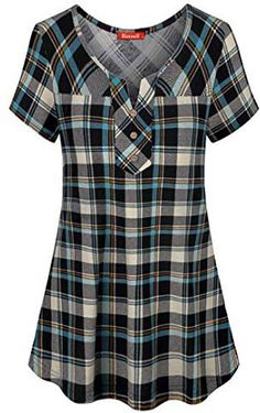 Blevonh Womens Short Sleeve Split V Neck Plaid Shirt Casual Henley . Casual Tops, Casual Shirts, Casual Outfits, Kurta Designs, Blouse Designs, Plaid Fashion, Fashion Outfits, Sewing Blouses, Camisa Formal