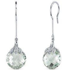 Oravo Sterling Silver Gemstone Checkerboard Dangle Earrings (