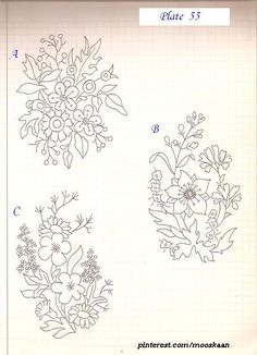 3 Floral Bunch Patterns for embroidery ...... Plate #55