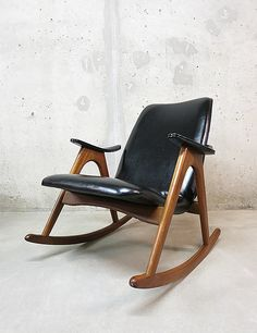 Louis van Teeffelen; Teak Rocking Chair for Webe, 1950s.