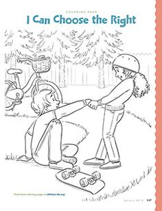 I Can Choose The Right Coloring Page Primary 2 Lesson