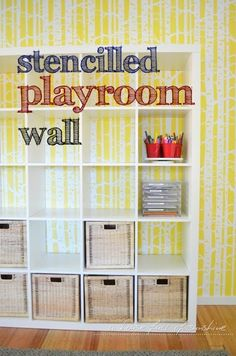 A house full of sunshine: Stencilled playroom wall!