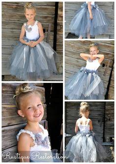 Gray and White Tutu Dress!    Wedding, Flower Girl, Gown, Little Girl