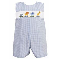 Boys Smocked Clothing | Anavini Baby Boy's Animal Parade Smocked Light Blue Gingham Shortall