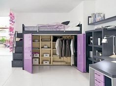 Bedroom, Bright And Clean Bedroom Design Housing The Dark Grey Cube Wall Shelves And Wall Mounted Shelf With Cool Wardrobe Bedroom Ideas For A Small Room Under The Upper Bed: Bedroom Storage ideas for Small Rooms Design