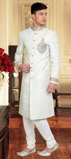 501462, Sherwani, Silk, Stone, Patch, Lace, White and Off White Color Family