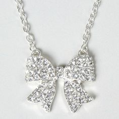 Lovely Bow Crystal & Silver Necklace