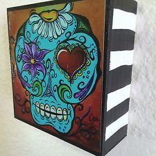 Retro Art By Jan Pop Art Sugar skull day of the Dead heart painting print funky
