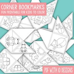 You will receive 10 a PDF file with 10 different corner bookmark designs for your kids to color.