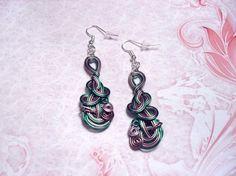 Boucles d'oreilles fil d'aluminium, brun, vert, argenté - 160