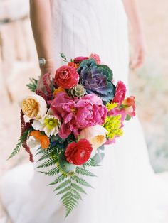 Lace And Lilies Colorful, Textured Bouquet, Peonies, Garden Roses, Ranunculus, Kale