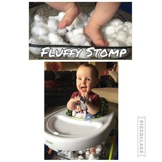 Fluffy Stomp {I wasn't sure if Nolan would even have a reaction to this feet sensory bin. But he LOVED it! He kept laughing and trying to look over the edge of the walker to see what he was stepping on. I will definitely be doing more like this!} {Cotton balls in a casserole dish! } #babyplay #babyfun #babysensory #babyplaytime #babybusyplay #babysensorybin #sensorybin #babyfeet #feetplay