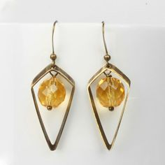 Thin Diamond Point Dangly Earrings in Yellow Dangly Earrings, Drop Earrings, Diamond Point, Irish Jewelry, Czech Glass Beads, Geometric Shapes, Free Gifts, Antique Brass, Autumn Fashion