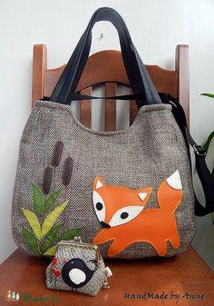 Meska - Tavaszi meseerdei rókás - XL  univerzális táska és csatos tárca szett annetextil kézművestől