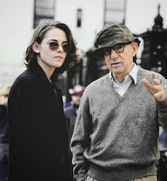 Kristen Stewart and Woody Allen on set of his new movie, 10/15