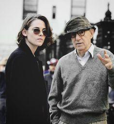 Kristen Stewart and Woody Allen on set of his new movie, 10/15