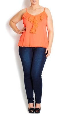 City Chic - NEON FRILL FRONT TOP - Women's plus size fashion #citychic #citychiconline #sweetsteals #plussize
