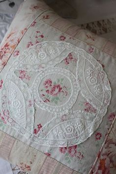 Beautiful Quilted Vintage Pillow Graced with Vintage Lace ~