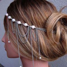 Kvinnor hårband Kedjor silver pläterad nu 109 kr (ord. Head Chain Jewelry, Body Jewelry, Jewelry Dish, Chain Headpiece, Headdress, Hair Cuffs, Silver Pearls, Headband Hairstyles, Hair Pieces