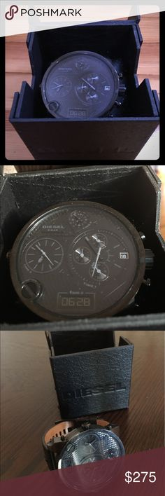 Diesel Mr Daddy Black Chrono Analog Quartz Watch This Diesel Time Zone Black Out Mr Daddy Black Chrono Analog Quartz Watch DZ7193 51mm is brand new. It was never used by the seller. It Is in excellent condition. This watch is high quiality and 100% authentic. Leather is 100% authentic as well. Diesel Accessories Watches
