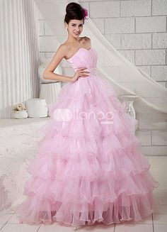 Pink Strapless Beading Organza Satin Ball Gown. See More Strapless at http://www.ourgreatshop.com/Strapless-C950.aspx