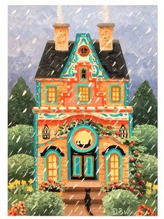 aceo original acrylic painting cats house whimsical rain flowers yard garden