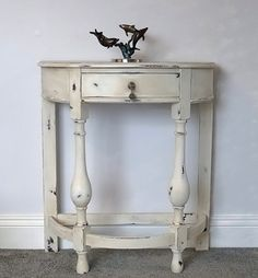 Demi-Lune Hall Table Restored and Refinished with Annie Sloan Old White Chalk Paint Distressed Wax protected~Hardwood £95.00