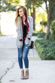 Another look from last year�s roundup, but it�s definitely an oldie� I posted this look back in 2014. This one just has cozy written all over it. similar plaid shirt($29) //similar cardigan($24) //similar jeans //similar booties //similar b
