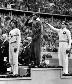 Although it's an incredibly chilling time in history, it's an amazing photo. Jesse Owens won four gold medals at the 1936 Olympics which were held in Nazi Germany.