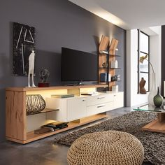 Wohnwert Wohnwand WW Media, gefunden bei Möbel Höffner The residential combination WW Media of residential value is striking with its extravagant design. The combination includes a lowboard wit Tv Cabinet Design, Tv Wall Design, Living Room Interior, Home Living Room, Living Room Decor, Modern Tv Wall Units, Tv Console Modern, Tv Unit Furniture, Living Room Tv Unit Designs