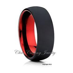 Black Tungsten Wedding Band, Tungsten Wedding Ring, Red Tungsten Band, Men's Tungsten Ring, Engagement Ring, Anniversary Band, Custom