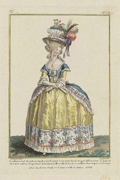 """""""Circassienne fond de couleur, à bandes d'etoffe peinte et une petite bande de gaze plissée autour: la juppe est d'une autre couleur, et la garniture de la juppe pareille a celle de la robe.  La coeffure est un chapeau a la Grenade"""", Gallerie des Modes, 1780; MFA 44.1469"""