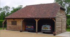 WATERLANDS COTTAGE | Double garage workshop and logstore | double garage and store Timber Frame Garage, Carport Designs, Double Garage, Garage Workshop, Shed, Cottage, Outdoor Structures, Google Search, Store