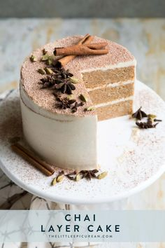 """This Chai. This Chai Layer Cake features three layers of chai infused cake frosted with vanilla bean Swiss buttercream.Yield: cake""""}, """"http_status"""": window. Just Desserts, Delicious Desserts, Dessert Recipes, Food Cakes, Tea Cakes, Gourmet Cakes, Layer Cake Recipes, Layer Cakes, Fall Cake Recipes"""