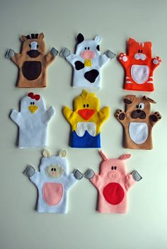 Old MacDonald puppet tutorial. Adorable hand puppets made from felt. Patterns for all animals shown, plus Old McDonald himself. - would be cool to shrink down and do as finger puppets! Felt Puppets, Felt Finger Puppets, Animal Hand Puppets, Sewing Crafts, Sewing Projects, Craft Projects, Craft Tutorials, Project Ideas, Sewing For Kids