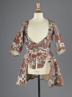 Jacket, Netherlands, 18th century. Cotton, printed with floral motifs in red and blue (indienne).