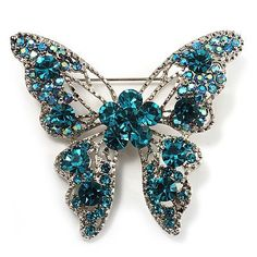 Dazzling Teal Coloured Swarovski Crystal Butterfly Brooch (Silver Tone) Avalaya. $31.50. Occasion: anniversary, mothers day, cocktail party. Metal Finish: rhodium plated. Theme: insect, butterfly. Type: crystal. Gemstone: swarovski crystal