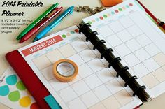 "Printable 2014 Planner - 5 1/2"" x 8 1/2"" format - Instant Download"