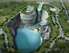 Waterworld, Songjiang, China.    This spectacular design by Atkin's Architecture Group deservedly won the first prize award last year in an international design competition. The 400-bed resort hotel features underwater public areas, guest rooms, cafes, and restaurants. The major attraction is the extreme sporting facilities including a luxurious swimming pool, rock climbing and bungee jumping.