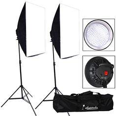 Abeststudio 2 x LED Light Softbox Continuous Lighting Kit 50x70cm Soft Box Photo Studio Set LED Light Bulbs Lamp Photography 50 x 70 cm Softboxes UK Plug + 1x Portable Carry Bag