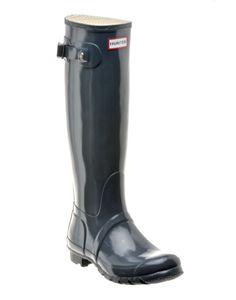 HUNTER-BOOTS | Original Tall Gloss Boots in Graphite - - Style36 Hunter Boots, Festival Fashion, Graphite, Rubber Rain Boots, The Originals, Shoes, Style, Graffiti, Zapatos