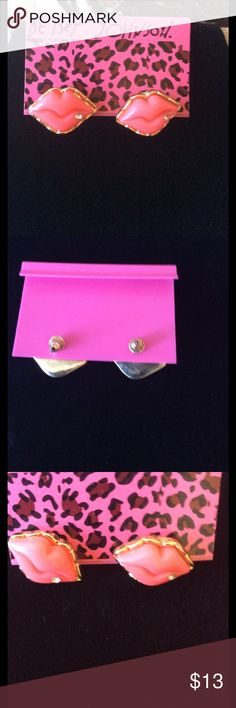 Betsey Johnson Lip earrings Super cute pink BJ lip earring studs.  New💖 Betsey Johnson Jewelry Earrings