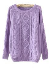 Purple+Long+Sleeve+Diamond+Patterned+Knit+Sweater+US$22.62