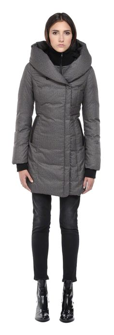 Soïa & Kyo - CAMYL GREY WINTER DOWN COAT FOR WOMEN WITH LARGE HOOD