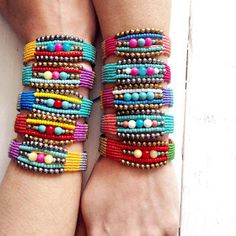 Summer collection macrame bracelets ,gems