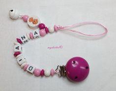 Schnullerkette Glocke Wunschname Name Baby md257 von myduttel auf DaWanda.com